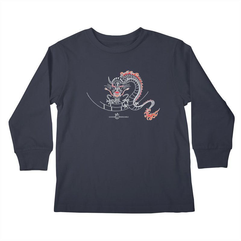 Dragon Smile (white) Kids Longsleeve T-Shirt by Good Morning Smile
