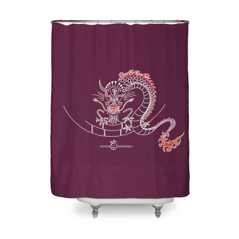 Dragon Smile (white) Home Shower Curtain by Good Morning Smile