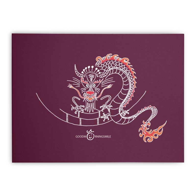 Dragon Smile (white) Home Stretched Canvas by Good Morning Smile