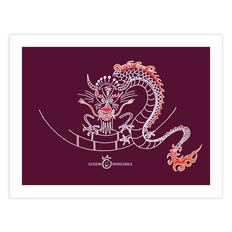 Dragon Smile (white) Home Fine Art Print by Good Morning Smile