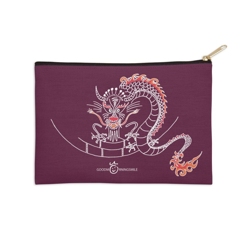 Dragon Smile (white) Accessories Zip Pouch by Good Morning Smile