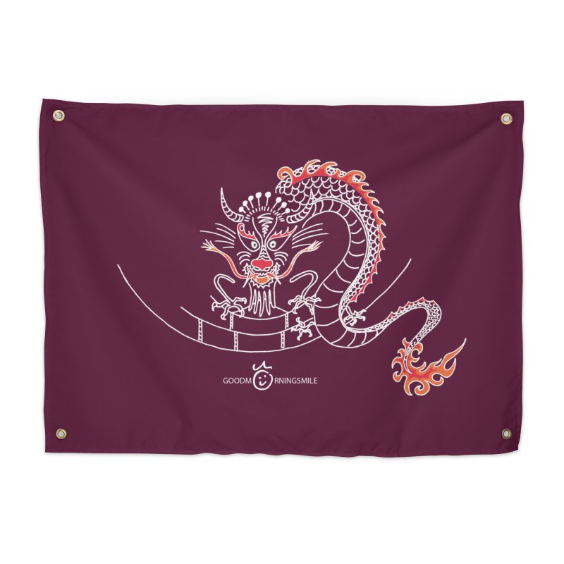 Dragon Smile (white) Home Tapestry by Good Morning Smile