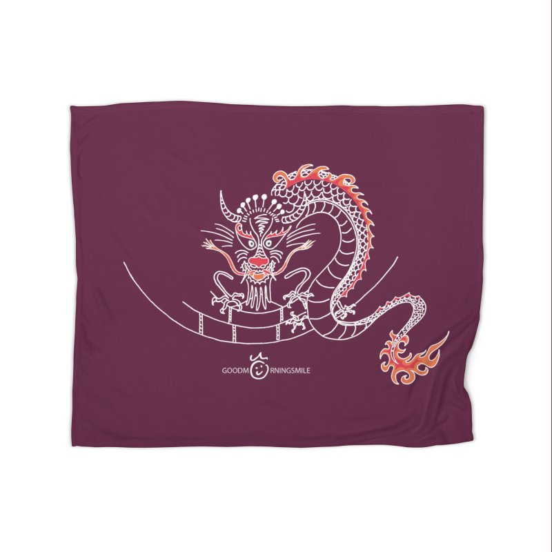 Dragon Smile (white) Home Fleece Blanket Blanket by Good Morning Smile