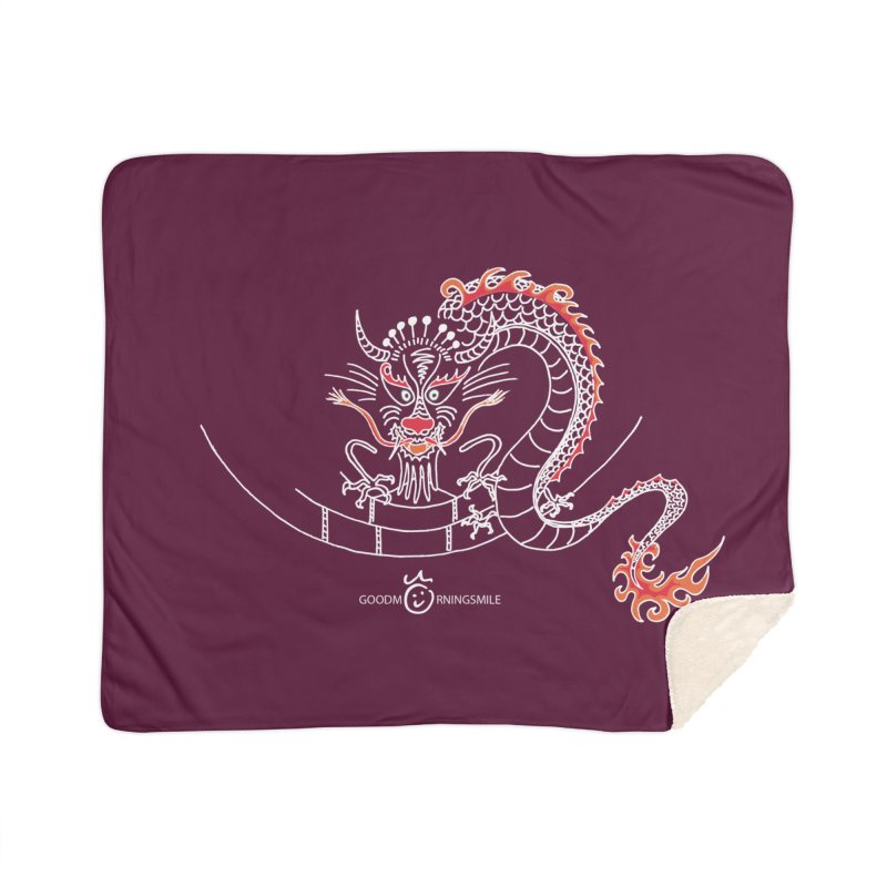 Dragon Smile (white) Home Sherpa Blanket Blanket by Good Morning Smile