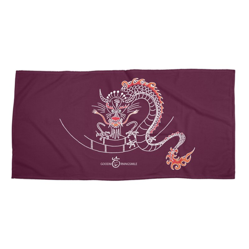 Dragon Smile (white) Accessories Beach Towel by Good Morning Smile