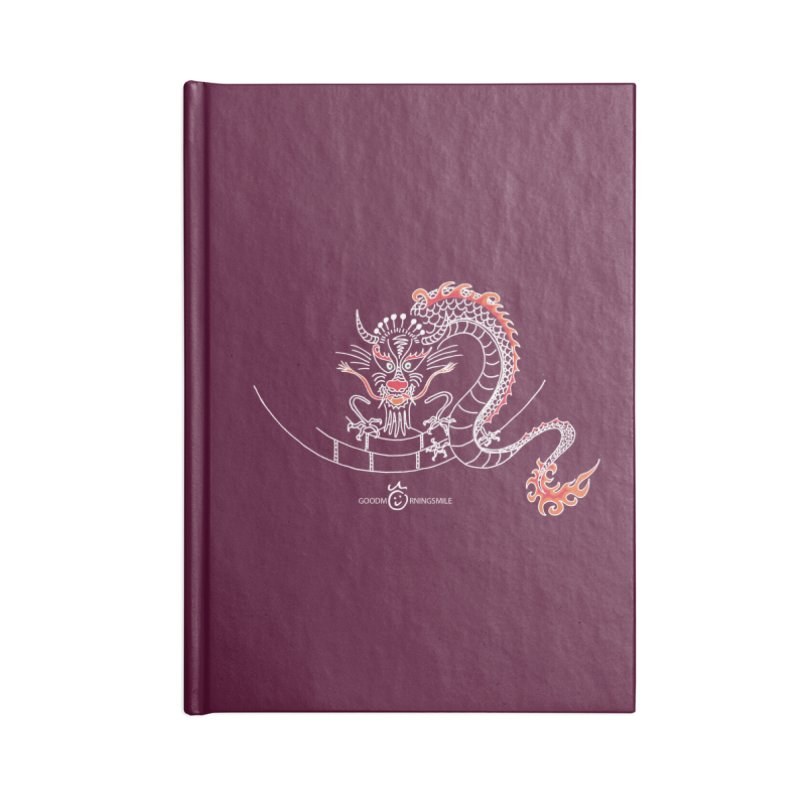 Dragon Smile (white) Accessories Blank Journal Notebook by Good Morning Smile