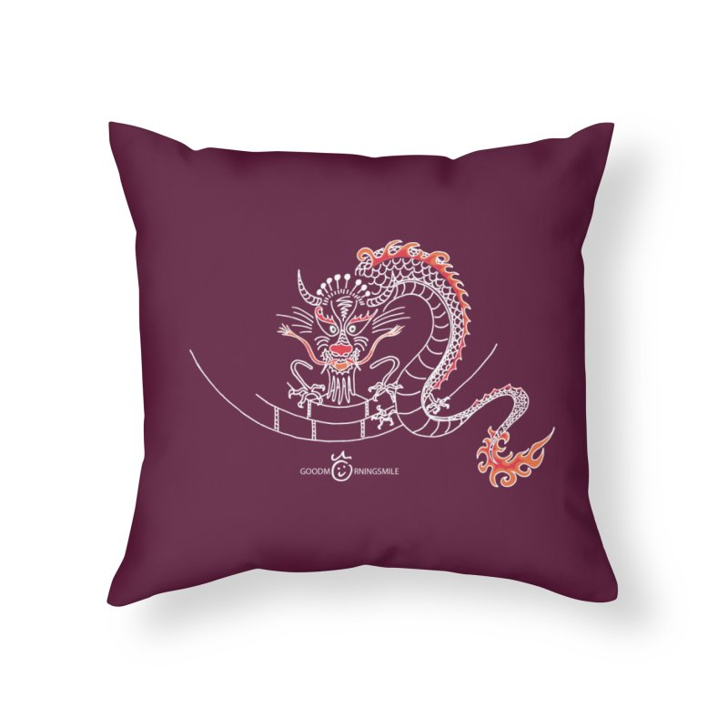 Dragon Smile (white) Home Throw Pillow by Good Morning Smile