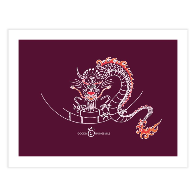 Dragon Smile (white) Home Fine Art Print by Good Morning Smile
