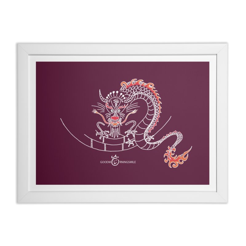 Dragon Smile (white) Home Framed Fine Art Print by Good Morning Smile