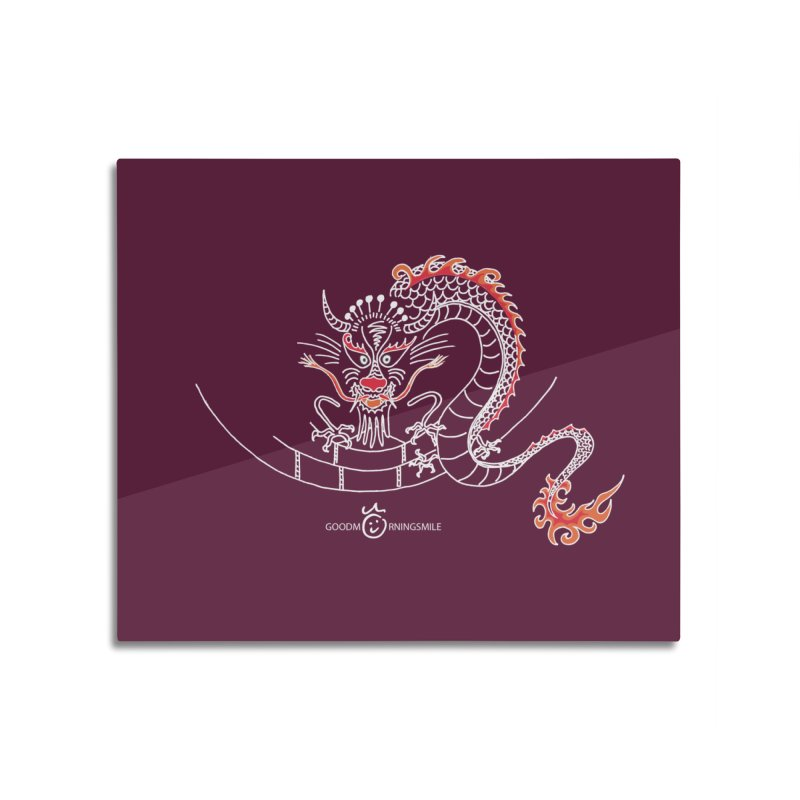 Dragon Smile (white) Home Mounted Aluminum Print by Good Morning Smile