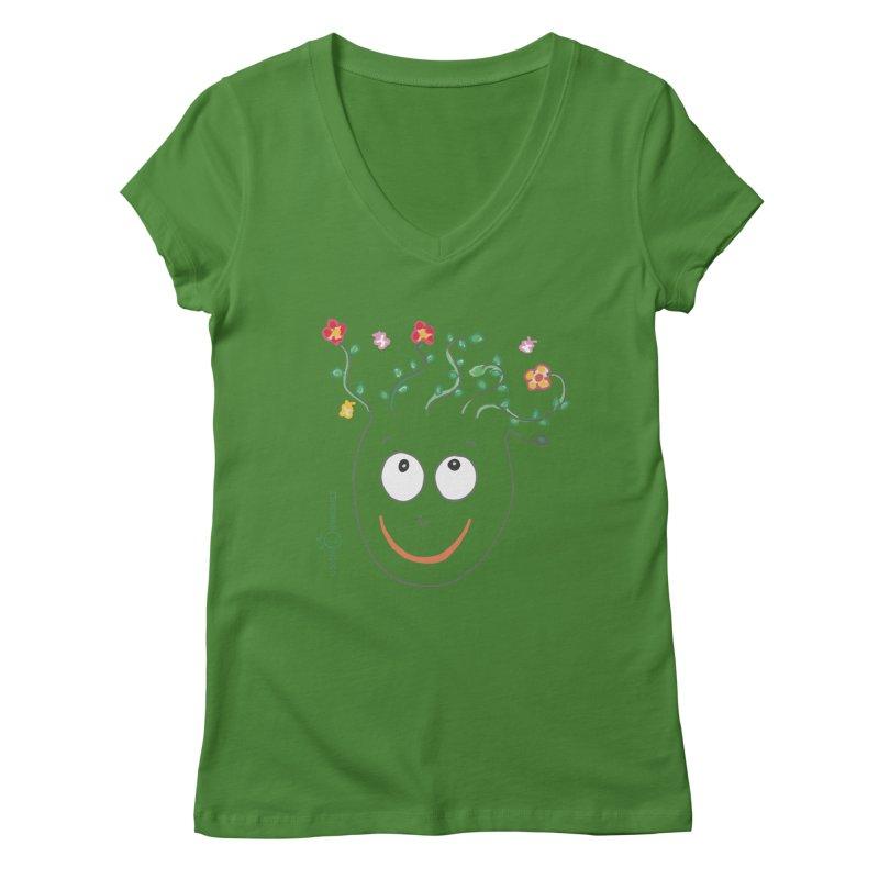 ThinkingGreen Smile Women's Regular V-Neck by Good Morning Smile