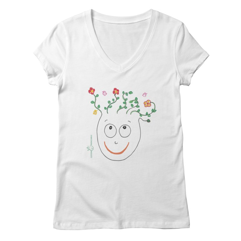 ThinkingGreen Smile Women's Regular V-Neck by Good Morning Smile