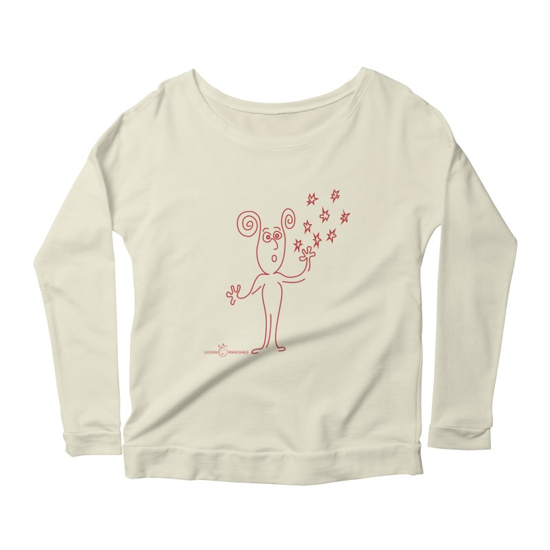 Wondering Women's Scoop Neck Longsleeve T-Shirt by Good Morning Smile
