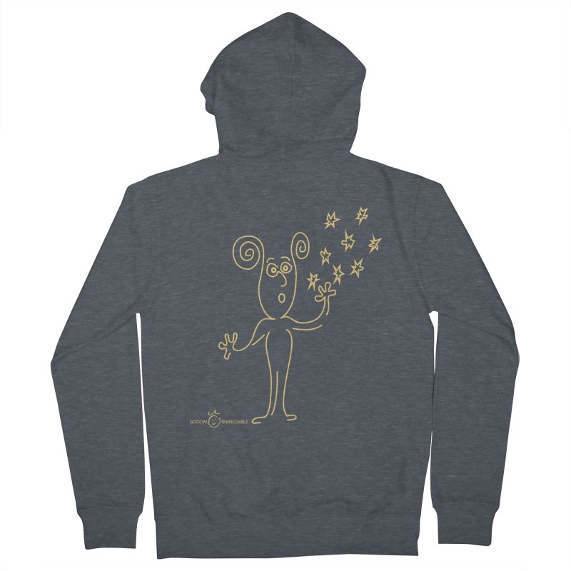 Wondering b Men's French Terry Zip-Up Hoody by Good Morning Smile