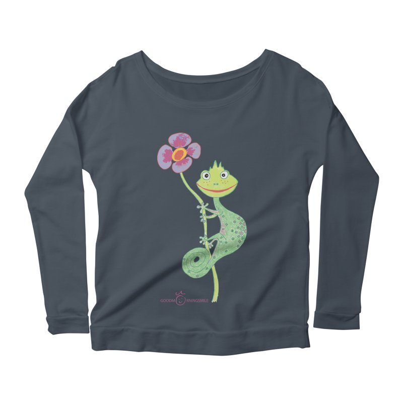 Chameleon Smile Women's Scoop Neck Longsleeve T-Shirt by Good Morning Smile