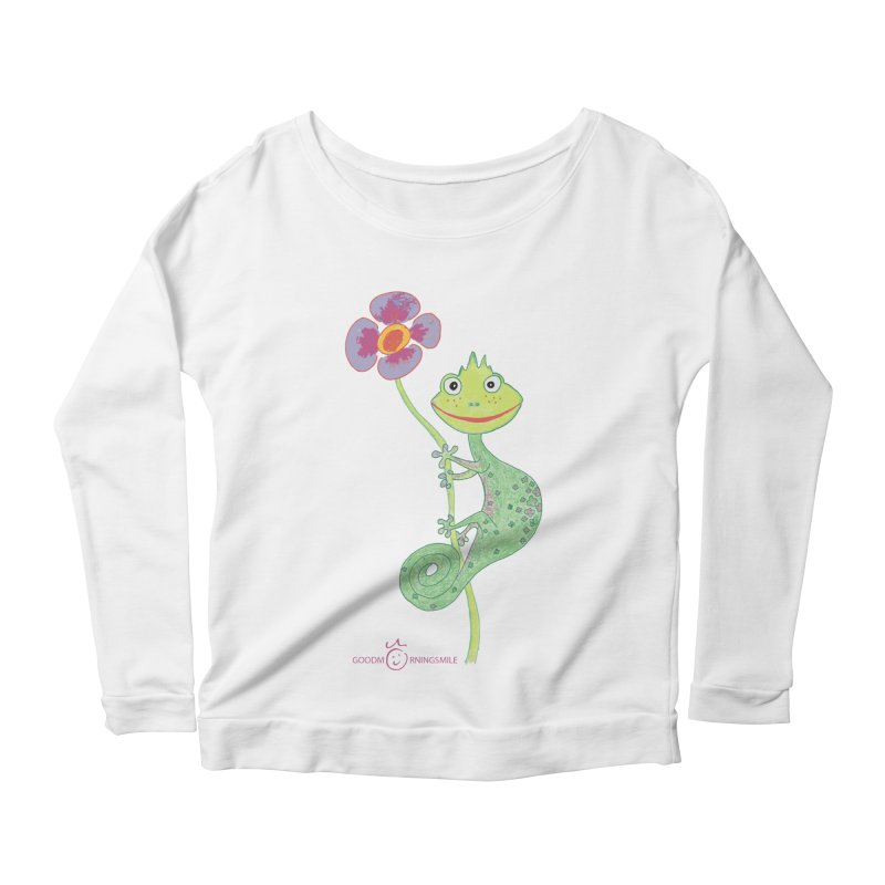 Chameleon Smile Women's Scoop Neck Longsleeve T-Shirt by Good Morning Smile