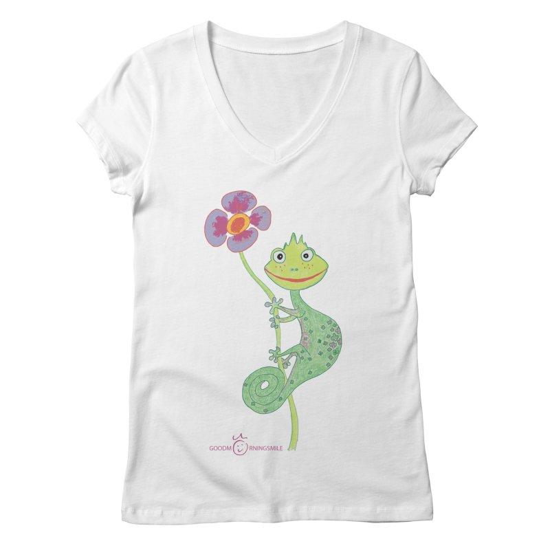 Chameleon Smile Women's Regular V-Neck by Good Morning Smile