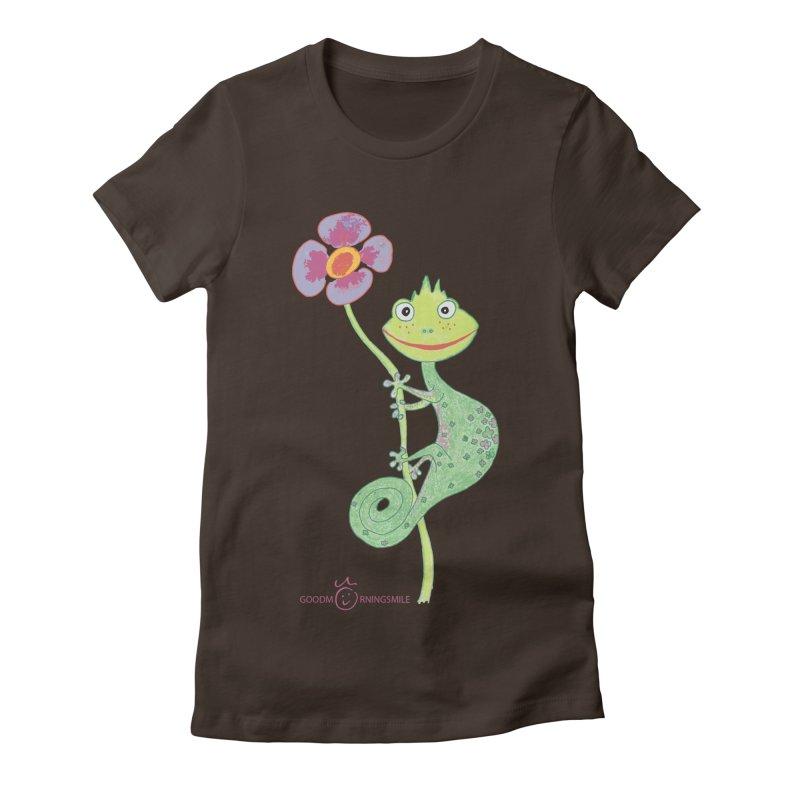 Chameleon Smile Women's Fitted T-Shirt by Good Morning Smile