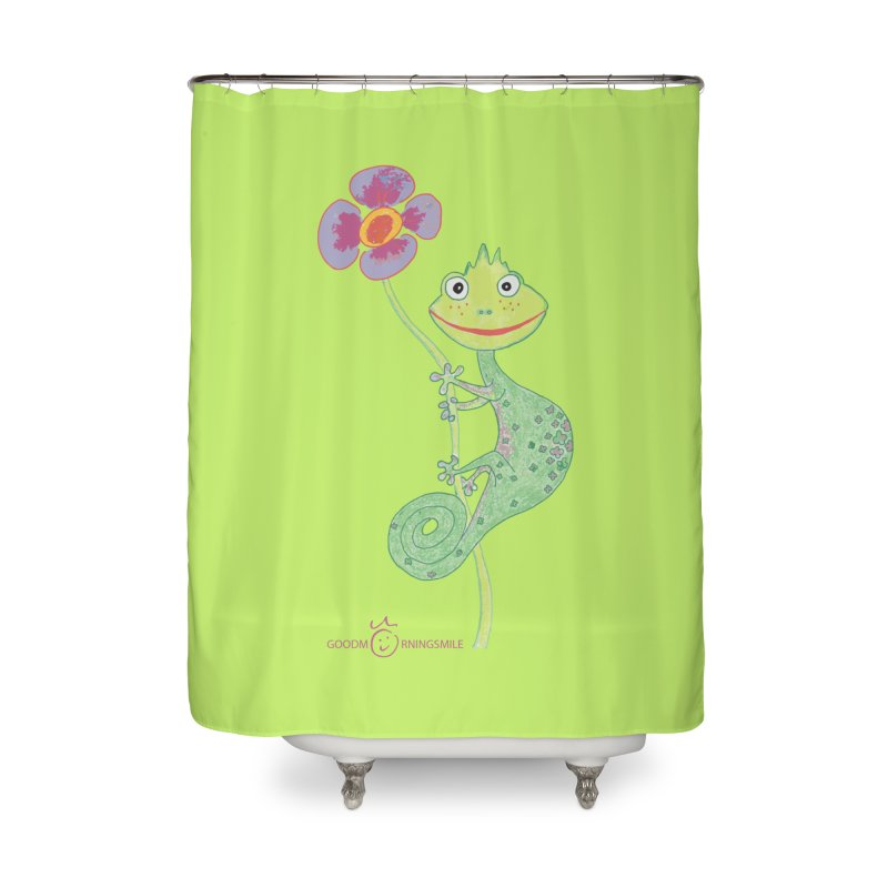 Chameleon Smile Home Shower Curtain by Good Morning Smile