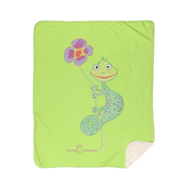 Chameleon Smile Home Sherpa Blanket Blanket by Good Morning Smile