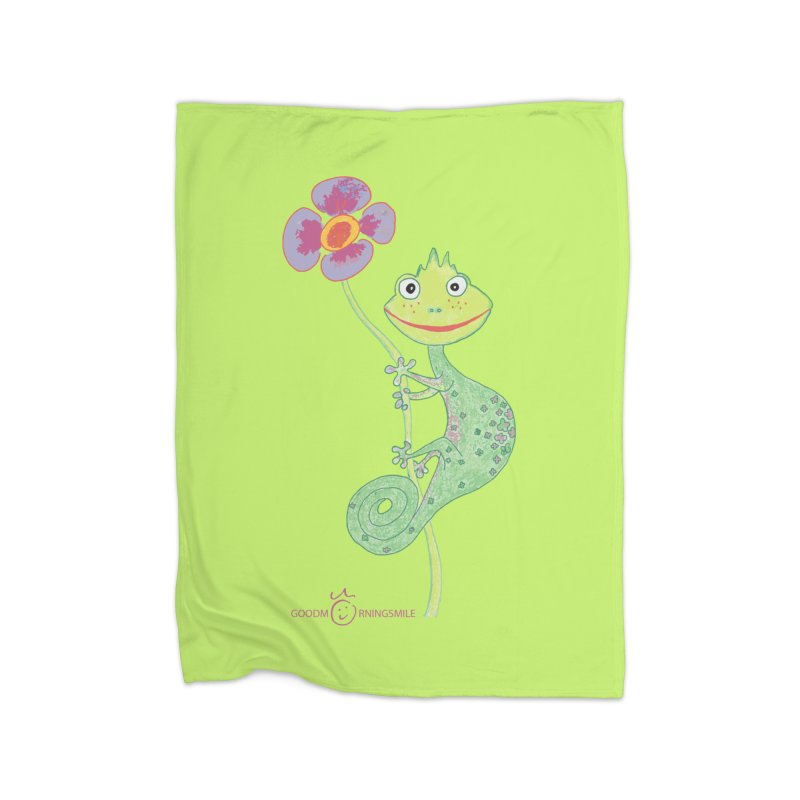 Chameleon Smile Home Fleece Blanket Blanket by Good Morning Smile