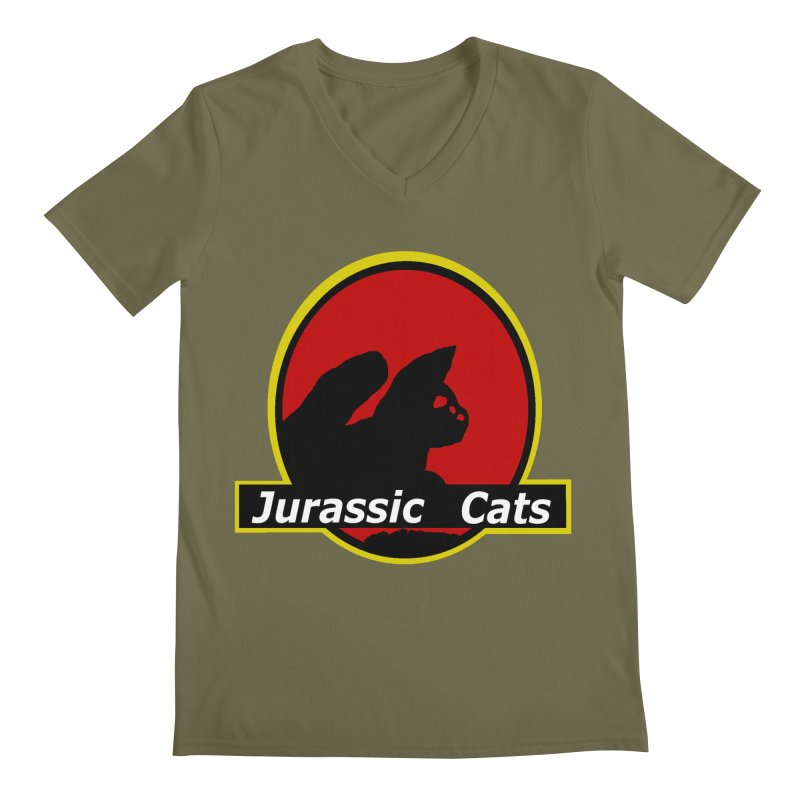 Jurassic Cats Men's V-Neck by Roe's Shop
