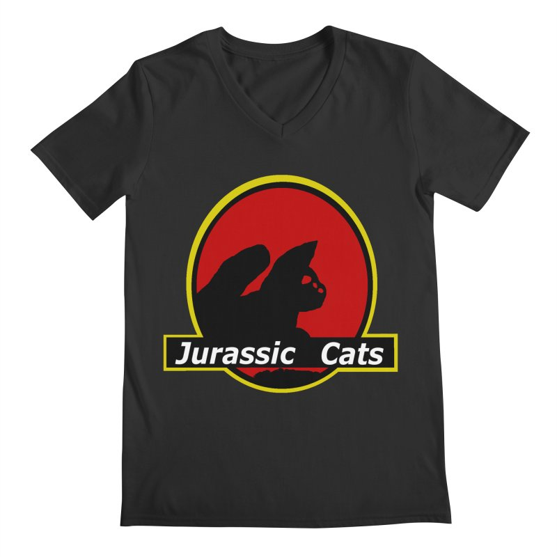 Jurassic Cats Men's V-Neck by Roe's Shop