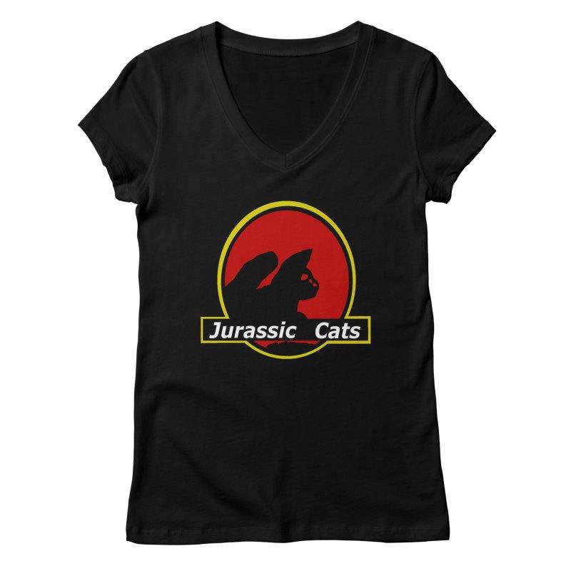 Jurassic Cats Women's V-Neck by Roe's Shop