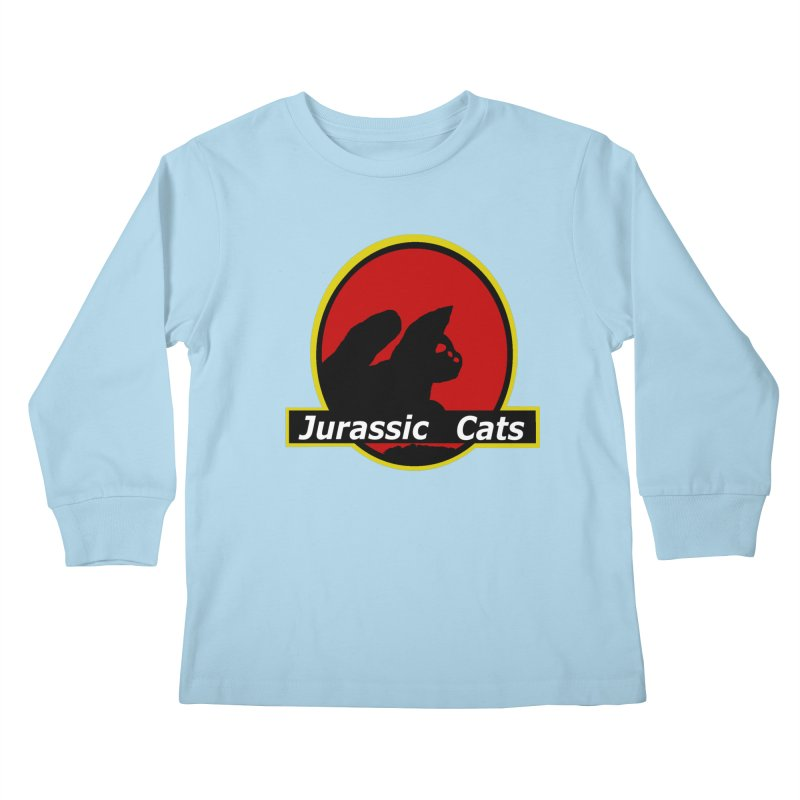 Jurassic Cats Kids Longsleeve T-Shirt by Roe's Shop