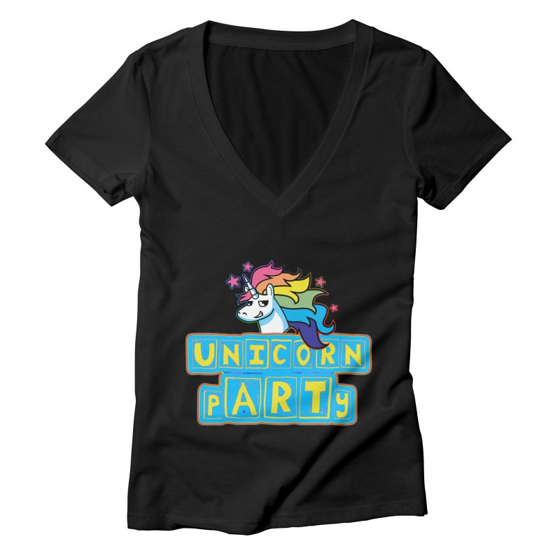Unicorn pARTy Women's Deep V-Neck V-Neck by Good Trouble Makers