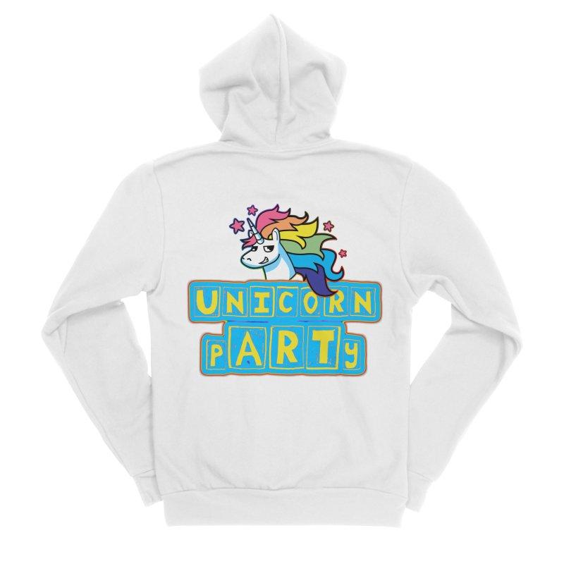 Unicorn pARTy Men's Sponge Fleece Zip-Up Hoody by Good Trouble Makers