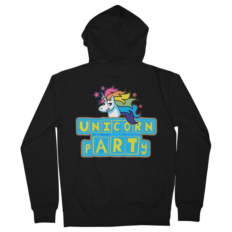 Unicorn pARTy Women's French Terry Zip-Up Hoody by Good Trouble Makers