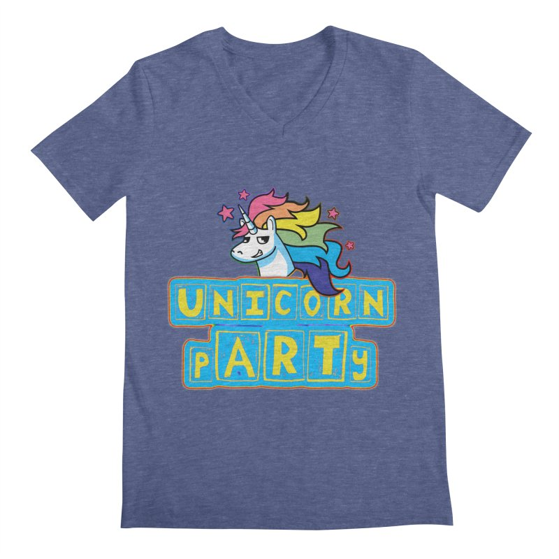 Unicorn pARTy Men's Regular V-Neck by Good Trouble Makers