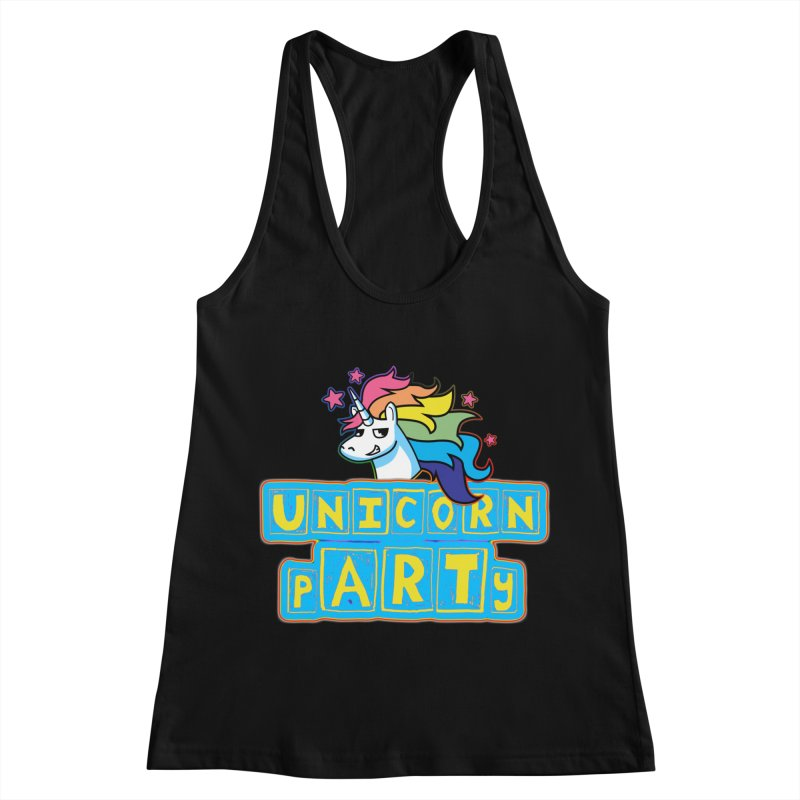 Unicorn pARTy in Women's Racerback Tank Black by Good Trouble Makers