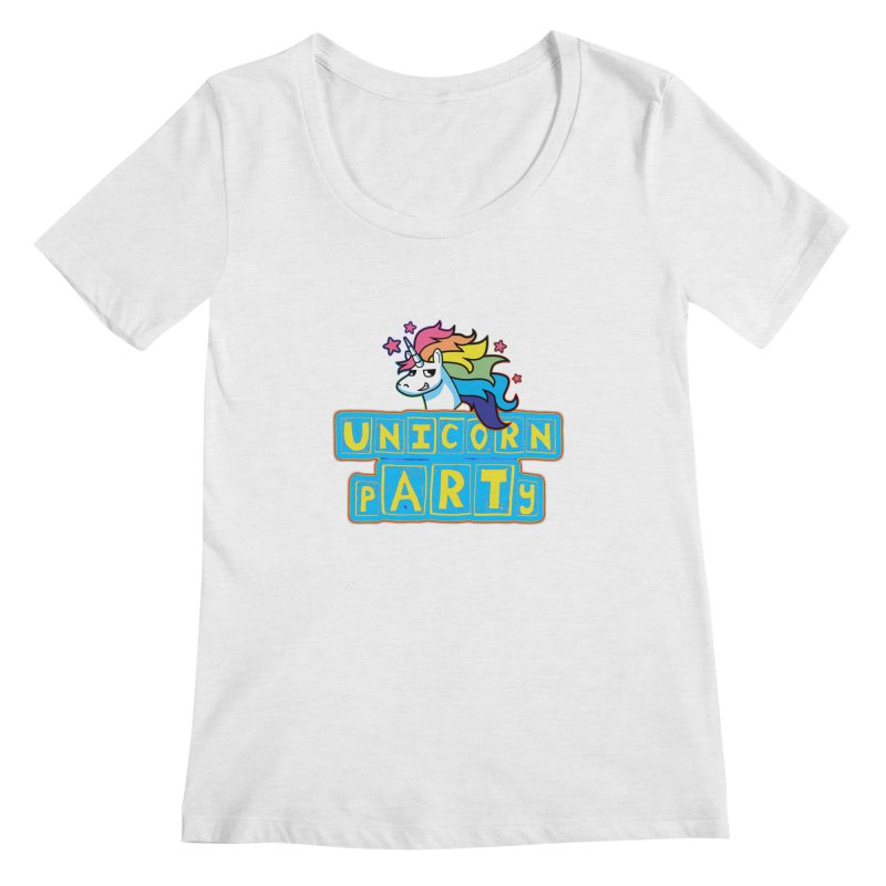 Unicorn pARTy Women's Regular Scoop Neck by Good Trouble Makers