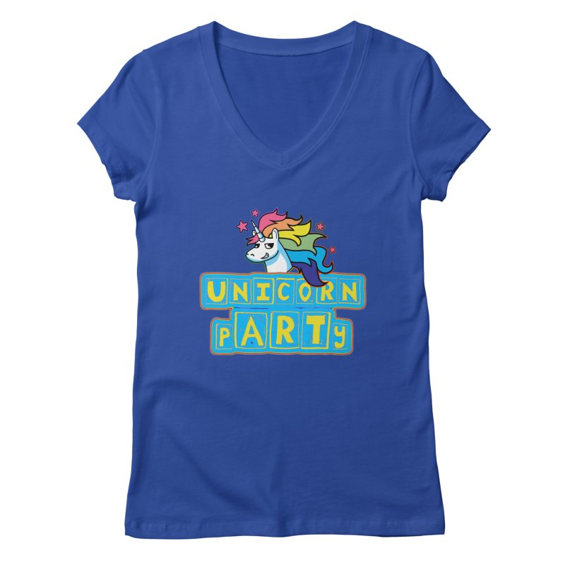 Unicorn pARTy Women's Regular V-Neck by Good Trouble Makers