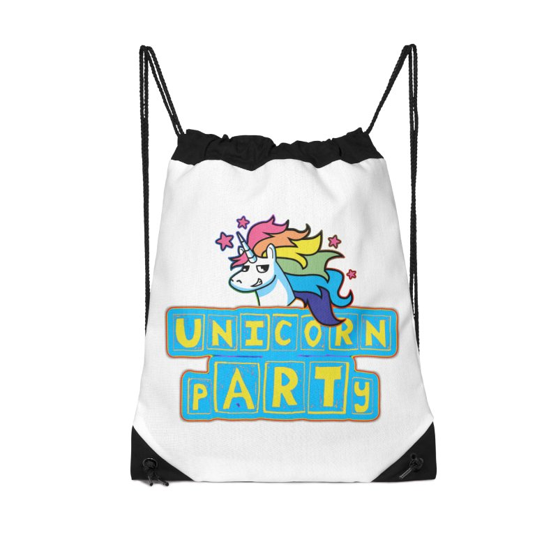 Unicorn pARTy Accessories Drawstring Bag Bag by Good Trouble Makers