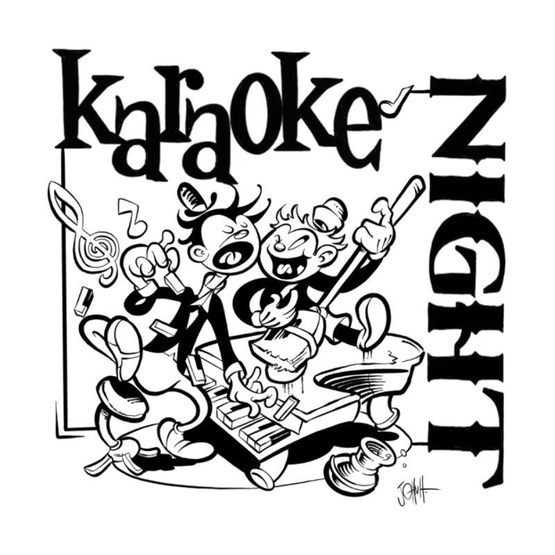 karaoke night Home Stretched Canvas by goofyink's Artist Shop