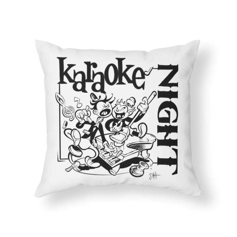 karaoke night Home Throw Pillow by goofyink's Artist Shop