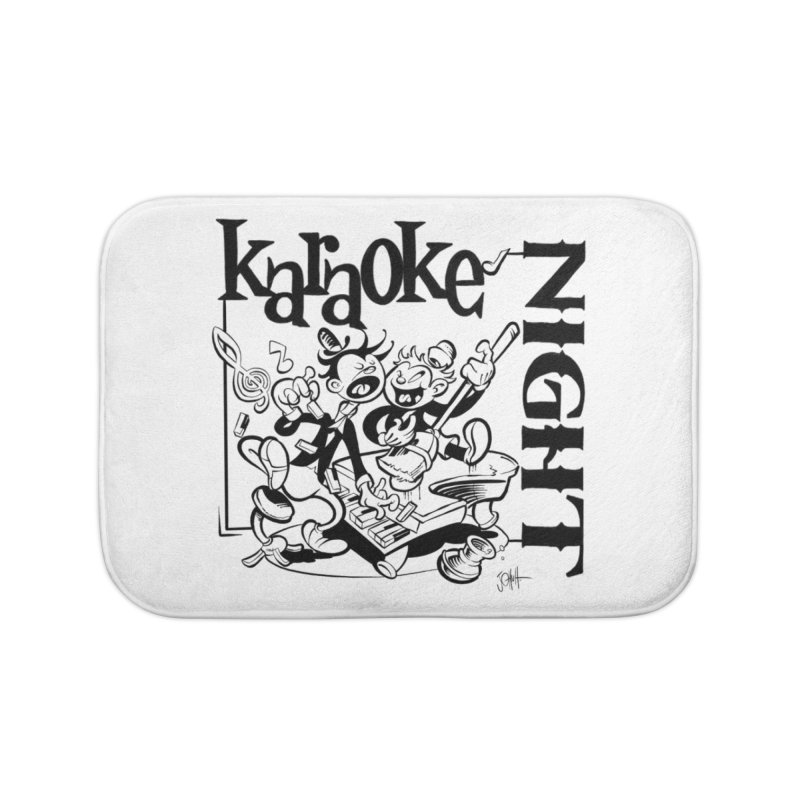 karaoke night Home Bath Mat by goofyink's Artist Shop