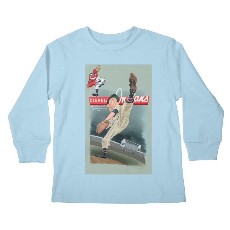 Bob Feller MLB HOF Kids Longsleeve T-Shirt by goofyink's Artist Shop