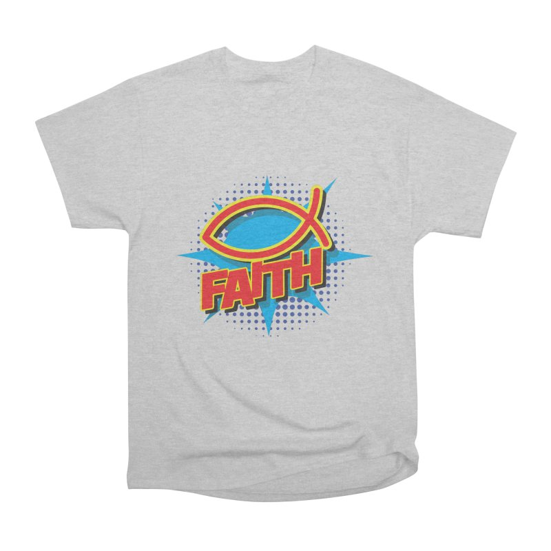 Pop Art Faith Fish Women's Heavyweight Unisex T-Shirt by goofyink's Artist Shop