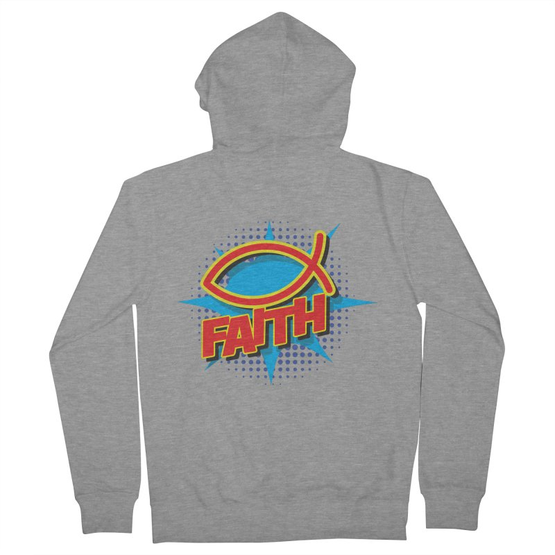 Pop Art Faith Fish Women's French Terry Zip-Up Hoody by goofyink's Artist Shop