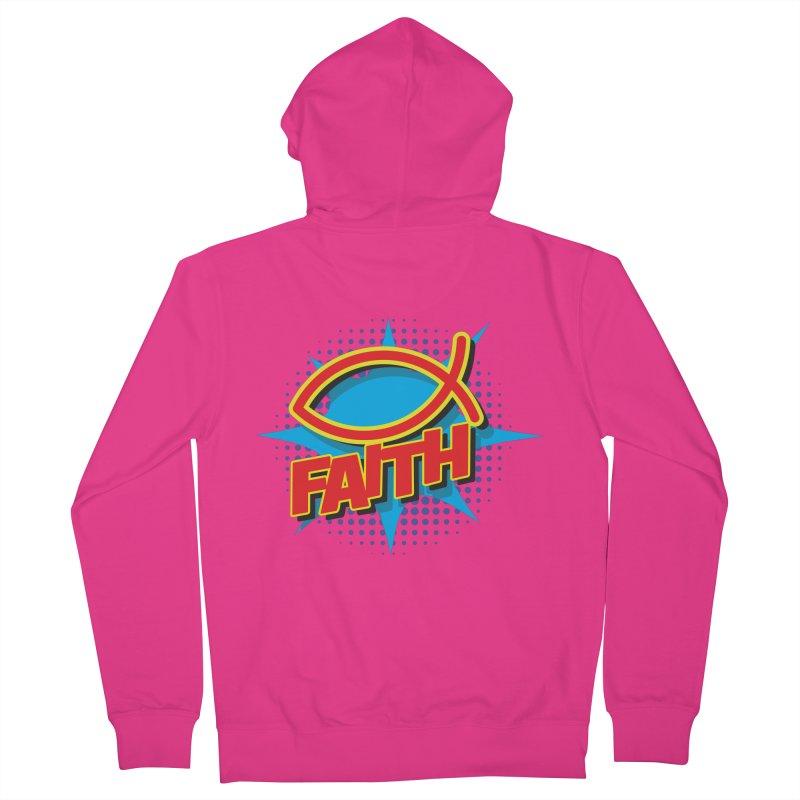 Pop Art Faith Fish Men's French Terry Zip-Up Hoody by goofyink's Artist Shop