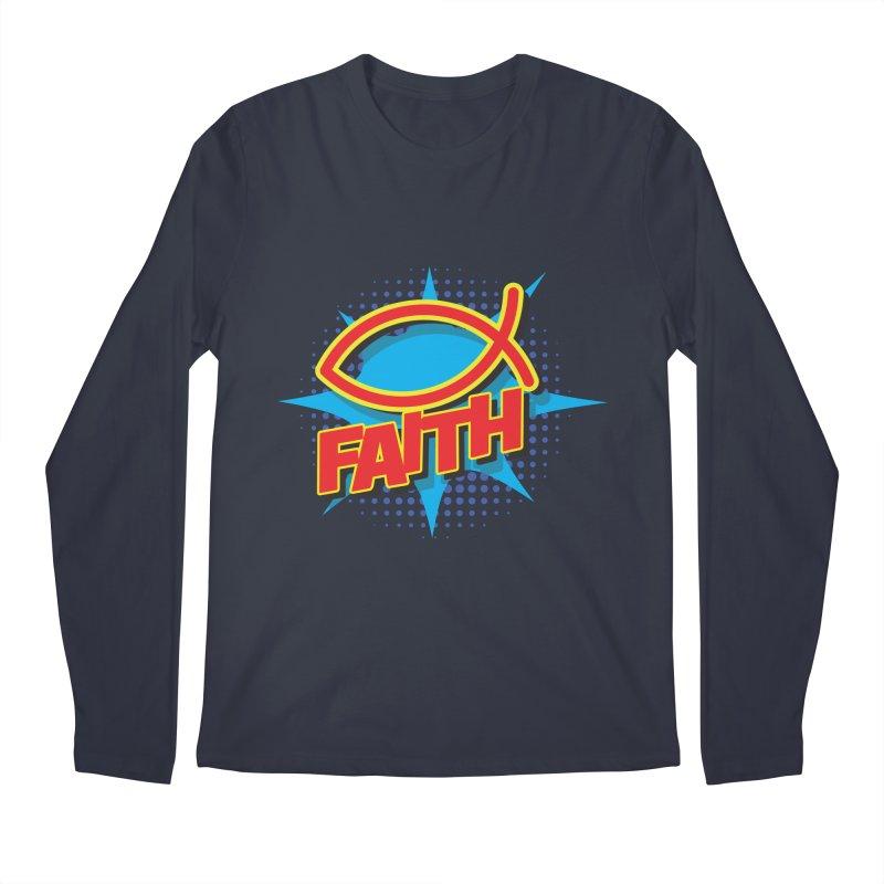 Pop Art Faith Fish Men's Regular Longsleeve T-Shirt by goofyink's Artist Shop