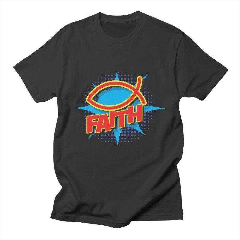Pop Art Faith Fish Men's Regular T-Shirt by goofyink's Artist Shop