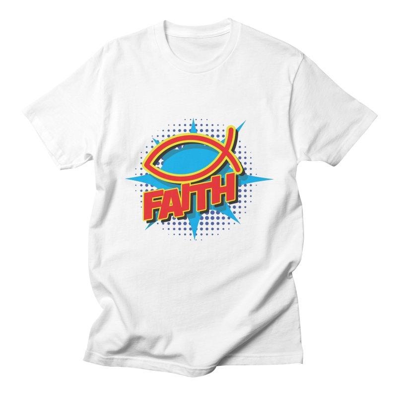 Pop Art Faith Fish Men's T-Shirt by goofyink's Artist Shop
