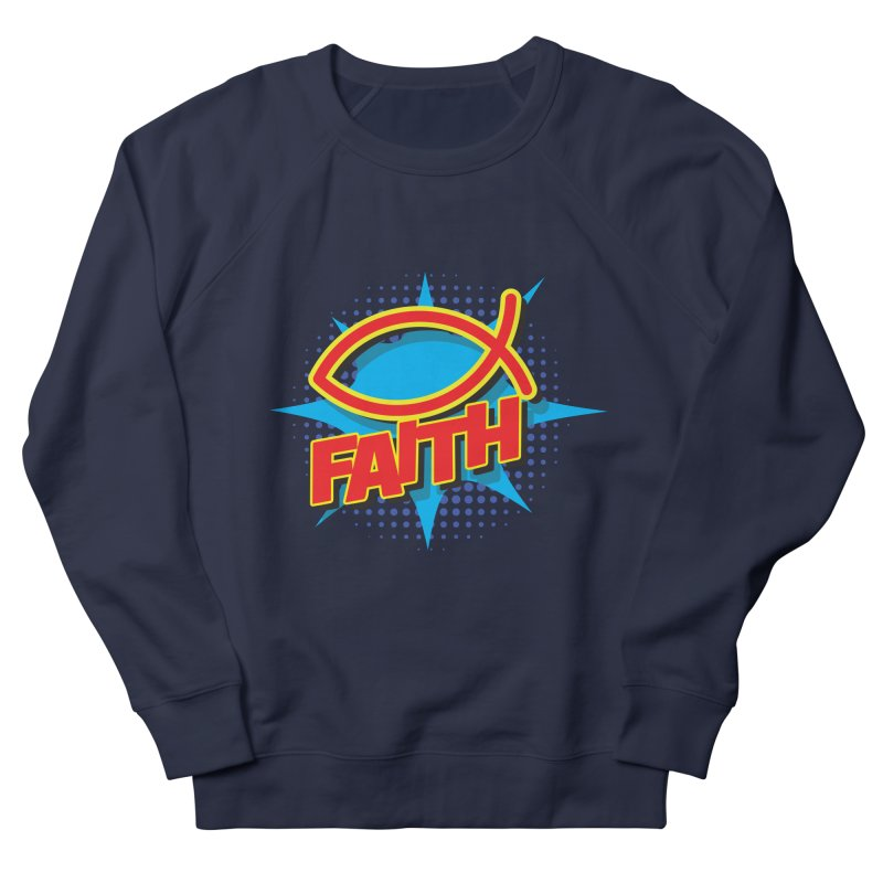Pop Art Faith Fish Women's French Terry Sweatshirt by goofyink's Artist Shop