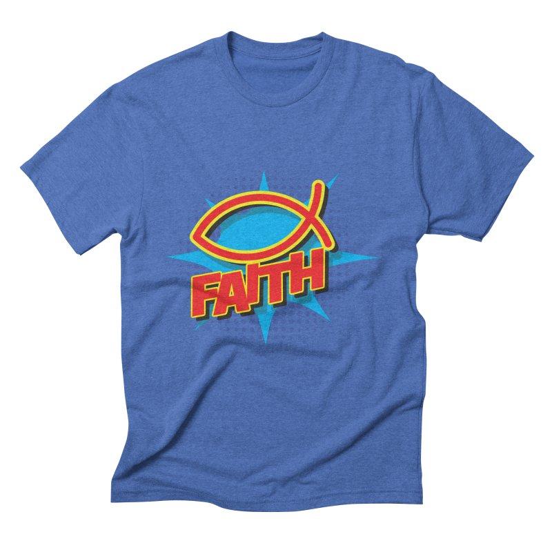Pop Art Faith Fish Men's Triblend T-Shirt by goofyink's Artist Shop