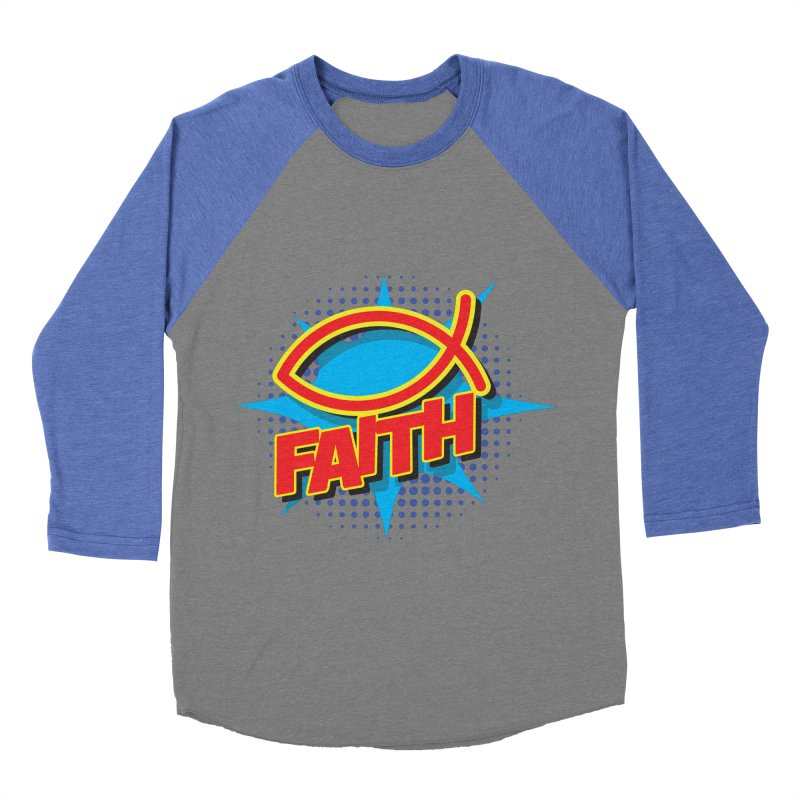 Pop Art Faith Fish Women's Baseball Triblend Longsleeve T-Shirt by goofyink's Artist Shop